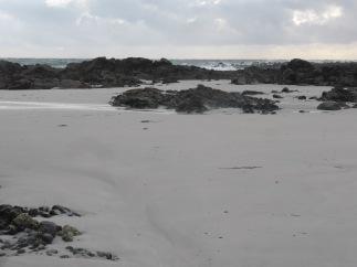 soft sand and rocks