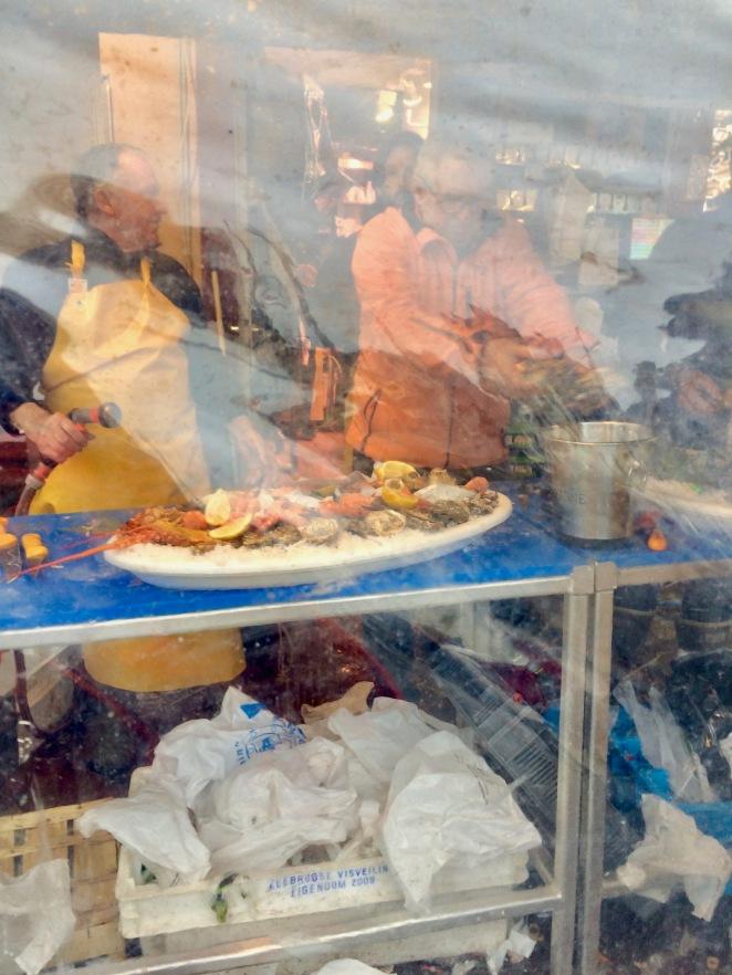 preparing seafood platters